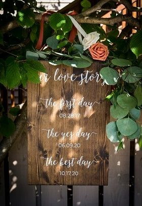 Wood Sign with Our Love Story message