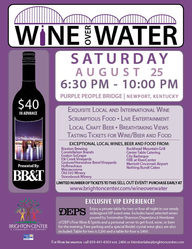 Purple poster with white print detailing information about a Wine Over Water event