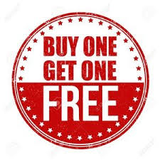 Round red and white sign saying Buy One Get One Free