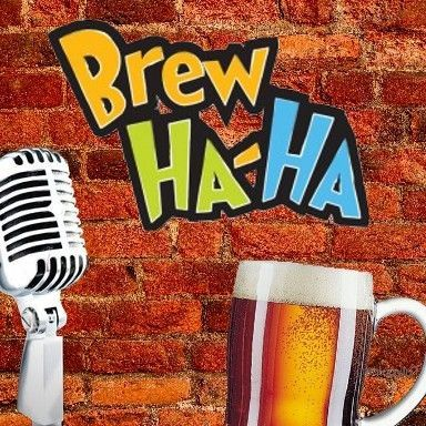 Orange brick wall with a microphone, glass of beer and the words Brew Ha Ha
