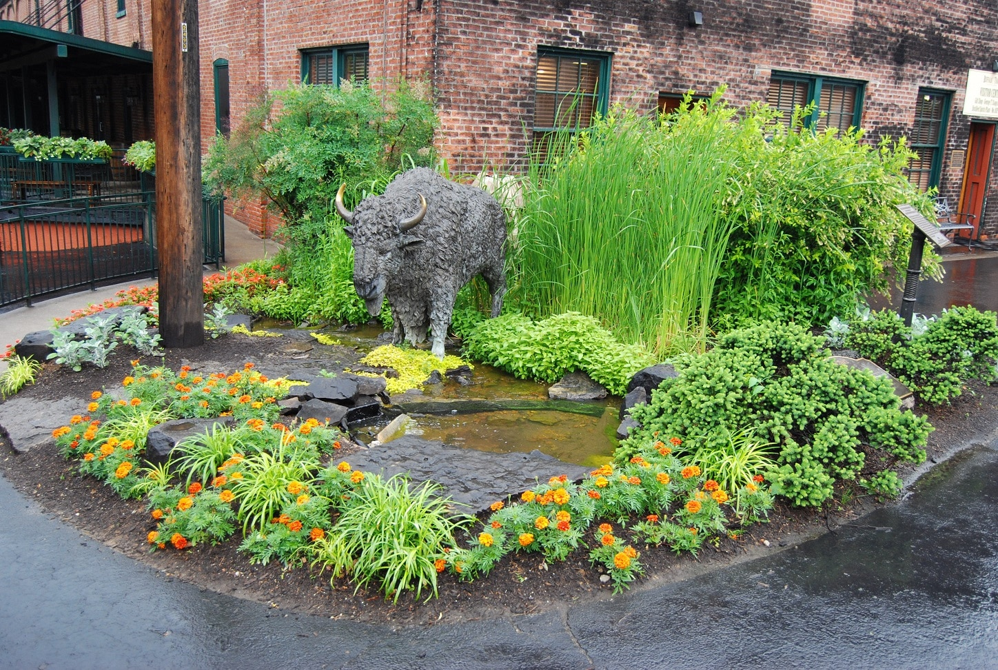 Garden with a grey buffalo statue within orange flowers and tall green grasses sitting in front of a red brick building
