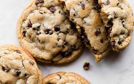 Baked golden brown cookies with chocolate chunks