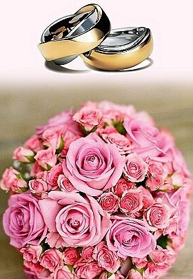 Two gold and silver wedding bands with a pink rose bridal bouquet