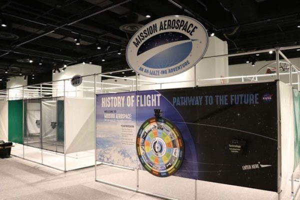 Standing metal enclosures with blue and black sign on front that says History of Flight