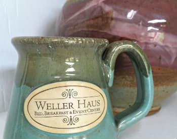 Multi colored pale and dark green coffee mug