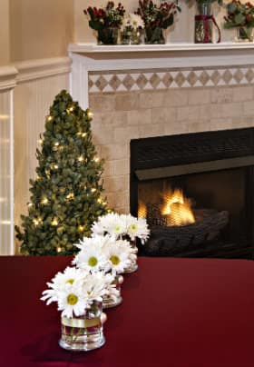 Lighted topiary tree next to a fireplace with burning fire, red table with vases of white daisies with yellow centers.