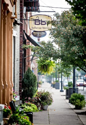 Small town street, restaurant with yellow sign and brown letters saying Bellevue Bistro, black bench and green potted plants