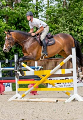 Brown horse with rider jumping over a yellow and white barrier