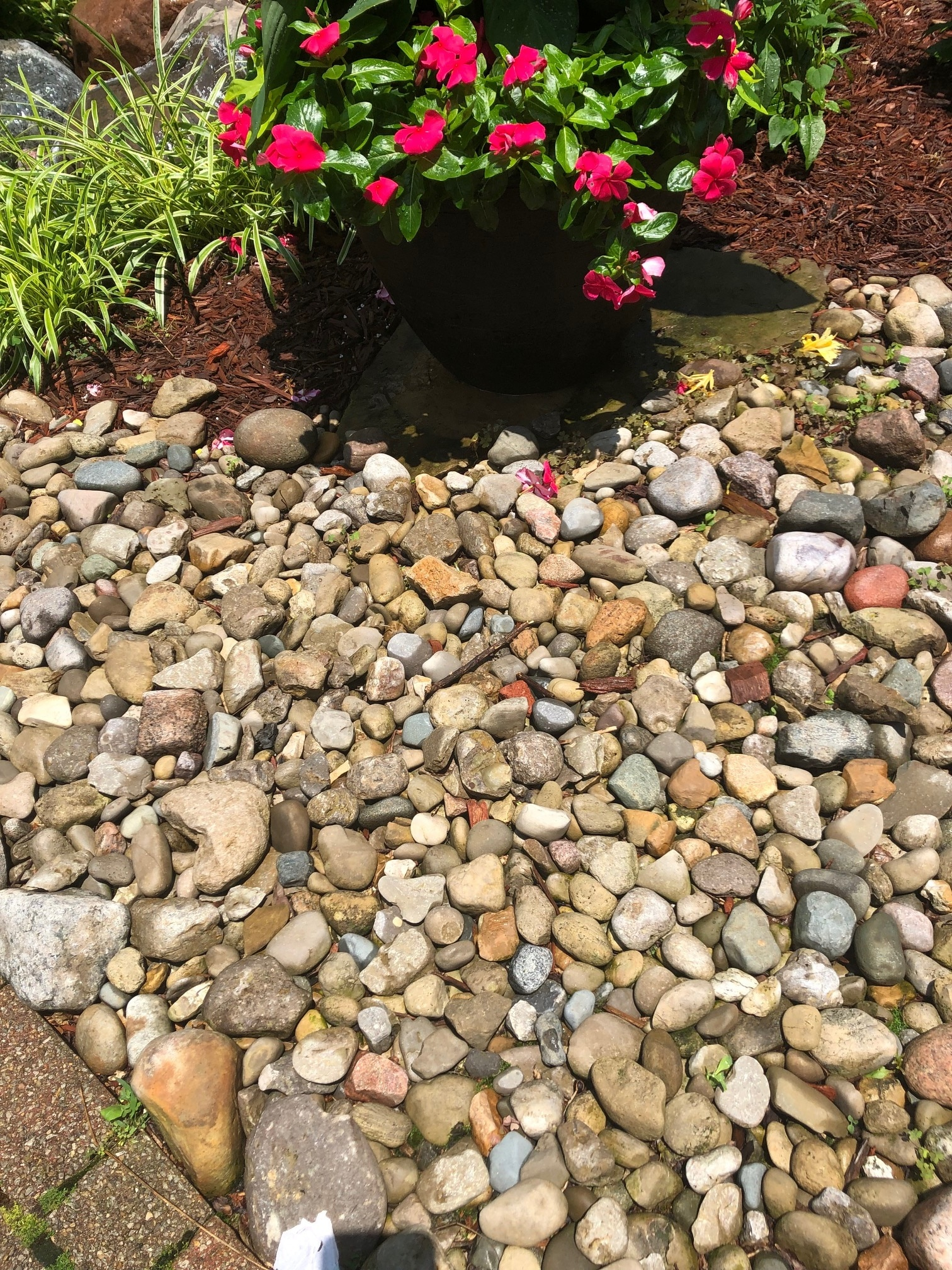 Brown, tan, and white rocks in a garden with pink potted flowers